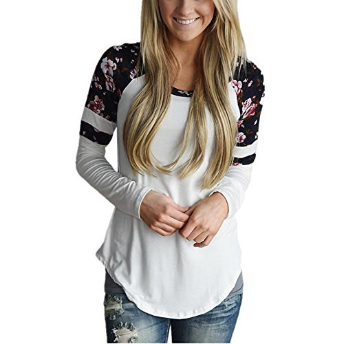 WOCACHI Damen Frauen Blumen Splice Printing Langarm Rundhals Pullover Bluse Tops T-Shirt (S, Weiß)