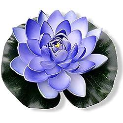PLECUPE 5 Stück Gefälschte Schwimmend Lotusblüte Seerose Teich Pflanzen Plastikblumen, Künstliche Wasserpflanzen, Aquarium-Dekorationen, Garten Teich Dekoration, 18cm, Blau