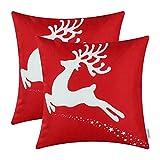 2er-Set CaliTime Throw Kissenbezüge, Weihnachtsfeiertags Rentier, 45cm x 45cm, Weihnachtsrot