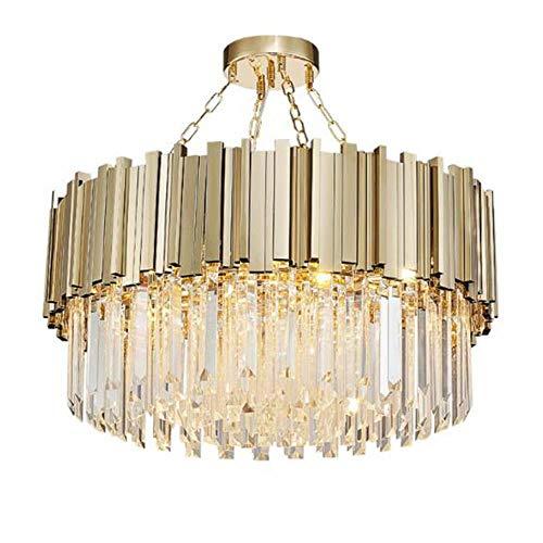 Moderne Kristall-Kronleuchter Lampe für Luxuxwohnzimmer Goldkette runde Edelstahl-Kronleuchter Beleuchtung, Dia30cm 3bulbs, warmes Weiß