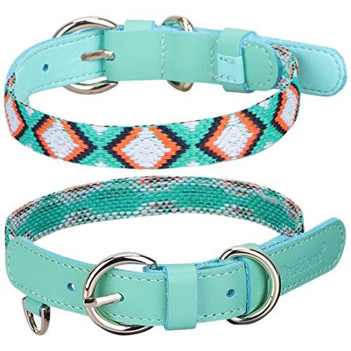PetsHome Hundehalsband, Katzenhalsband, schönes, waschbares verstellbares Halsband für kleine Hunde und Katzen, S, A7-Mint Green - Mint Cleaner