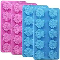 Molde de silicona para huellas de grado alimenticio, juego de 4 paquetes reutilizables de huellas