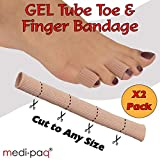 Medipaq® GEL Tube Toe/Finger Bandage - Pain Relief From Blisters, Corns, Calluses and other Ailments Causing Sore Fingers and Toes (Double Pack) (2x Gel Tubes 15mm)