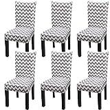 Fuloon Stuhlhussen 4er 6er Set Stuhlbezug Stretch Esszimmer Sitz Stuhl Abdeckungen für Haus (6 Stück Linien Grau)