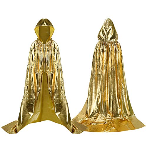 Gold Cape Kostüm - Proumhang Lange Umhang mit Kapuze Polyester