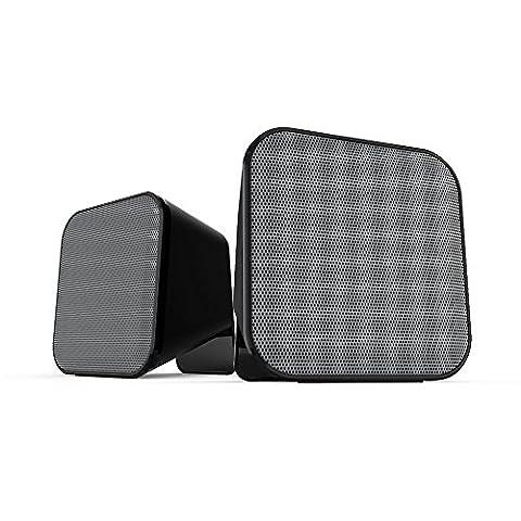 Speedlink Aktive Stereo-Lautsprecher - SNAPPY Stereo Speaker USB (6W RMS für kraftvolle Bassfrequenzen - Praktische Tischfernbedienung für bequeme Lautstärkeregelung - 1,25 m Kabellänge) für Computer / Laptop (Pc Stereo Lautsprecher)