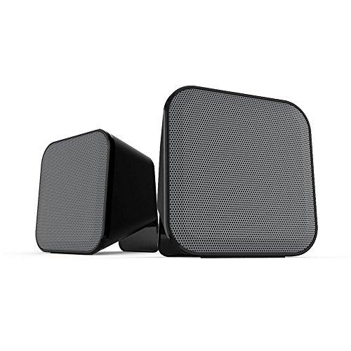 Speedlink Aktive Stereo-Lautsprecher - SNAPPY Stereo Speaker USB (6W RMS für kraftvolle Bassfrequenzen - Praktische Tischfernbedienung für bequeme Lautstärkeregelung - 1,25 m Kabellänge) für Computer / Laptop schwarz-grau