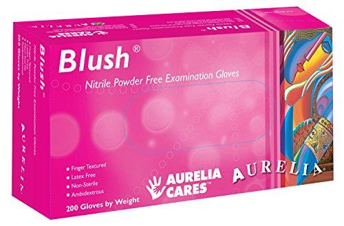 Supermax 78886Aurelia Blush guantes de nitrilo, sin polvo, pequeño, rosa (Pack de 200)