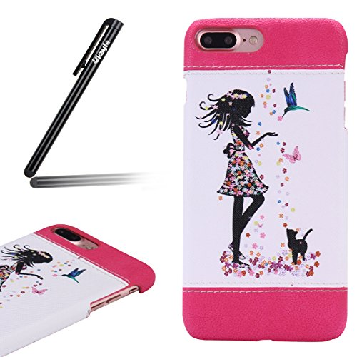 Custodia iPhone 7/8 plus,iPhone 7/8 plus Cover Thin,Ukayfe Bella Vintage Elegante Crystal Morbido TPU Silicone Ultra Sottile con Colorato dipinta Motivo ornamentale Piuma doca Cover Custodia [Crystal Donna e gatto