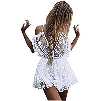 Sannysis monos de vestir mujer pantalones cortos florales de verano, blanco transparente