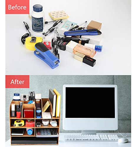 Schreibtischorganizer Holz, Lesfit Tisch Organizer Büro Fernbedienung Box Organisation Aufbewahrungsbox Schreibtisch Kinder (Braun) - 5