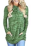 T-Shirt Damen Langarm Heather Cozy Oversize Wasserfallausschnitt Kordelzug Gestreift Bluse Langarmshirt Sweatshirt Pullover Lang Top (Grün, XXXL)