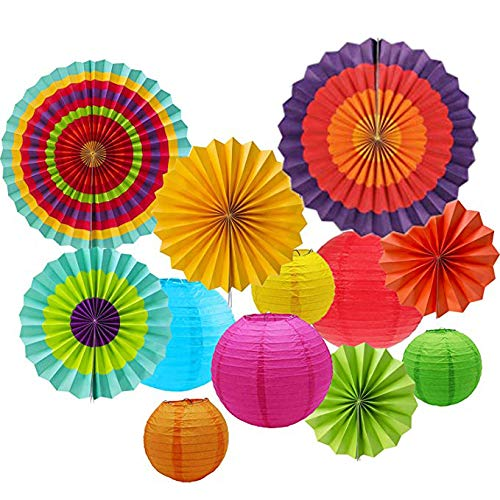 IMMEK Mexikanische Fiesta zum Aufhängen Papier Fans Colorful rund Rad Disc Laterne Dekoration für Party Hochzeit Geburtstag Festival Weihnachten Event und Home Decor 12 Pcs