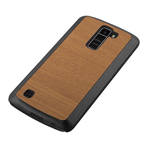 Cadorabo – Hard Cover Slim Case für >                LG K10 (Modell 2016)                < in Holz-Optik und Vintage Design - Case Cover Schutz-hülle Hard Case in WOODY-KAFFEE WOODY-BRAUN