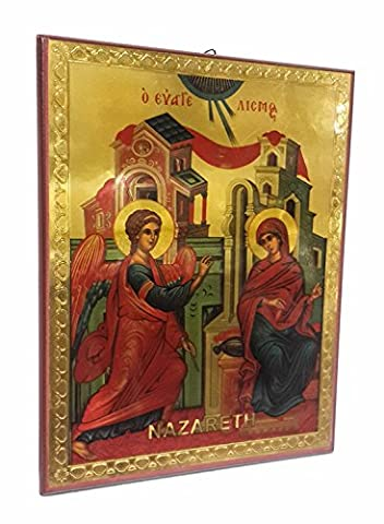 Verkündigung der seligen Maria Russische Ikone Plaque gesegnet Jerusalem Souvenir 5,7