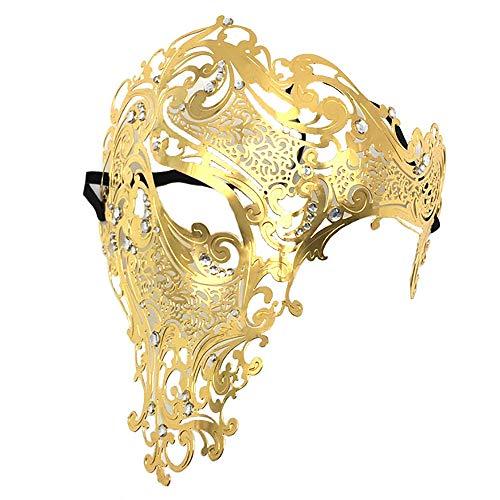 (YIRENXIAO Sexy Maske für Damen, Metallic, luxuriös, mit Diamanten, Party, halbes Gesicht, Maskerade, 19,5 x 17 cm, Metall, Gold, B)