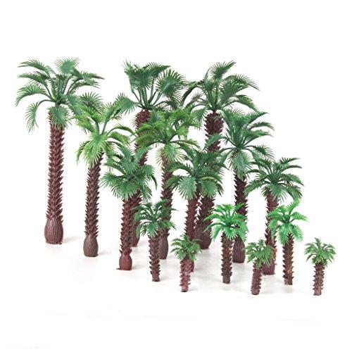Preisvergleich Produktbild 15pcs Landschaftsbau Palm Baum Bäume Modelleisenbahn Scale HO O N 4-16cm