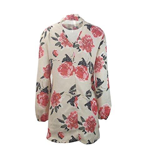 FEITONG Frauen Chiffon Tops Blumen V-Ausschnitt Langarm T-Shirt Damen Tops Loose Bluse Beige