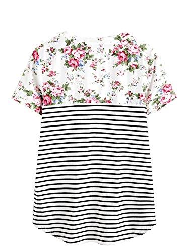 ROMWE Damen Baumwolle Tshirt mit Blumenmuster und Streifen Top Shirt Rosa