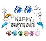 Somine Nettes Silber Geburtstagsfeier-Ballon Satz (93 Stücke) – Happy Birthday Briefe, Ballons und Feier Party Dekoration Zubehör