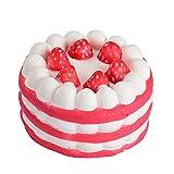 Squishy Stress Spielzeug Slice Cake Cream Scented Soft Slow Steigende Handy Halterung Hand Kissen Spielzeug Geschenk zufällige Holeider (Rot)