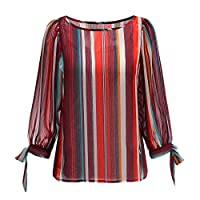 Naturally99 Women's Long Sleeve Blouse with Multi Stripe Chiffon Rayon T-Shirts. 9043T