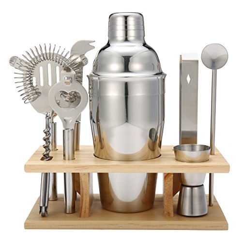 Produktbild Skymore Cocktailshaker Set 9 Pcs enthält mit Cocktail Shaker + Cocktail Messbecher + Cocktail Sieb + Eiszange + Flaschenöffner + Löffel + Messer + Rack aus Holz