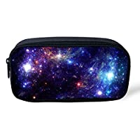 Advocator Galaxy Print Kids Pencil Case with Zipper Office School Stationery Pouch Children Coin Purse Lightweight Make up Bag