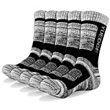 YUEDGE 5 Pair Men's Athletic Performance Crew Socks, Moisture Wicking Sports Socks for Outdoor Recreation, Trekking, Climbing, Camping