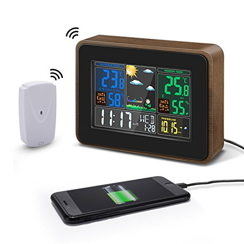 DIGOO DG-TH8878 Holzmaserung Farbe Wireless Wetterstation, Indoor Outdoor Hygrometer Thermometer Wettervorhersage mit USB-Ladeausgang, Sprachsteuerung, Farbbildschirm, Dual-Wecker (Usb-wetterstation)