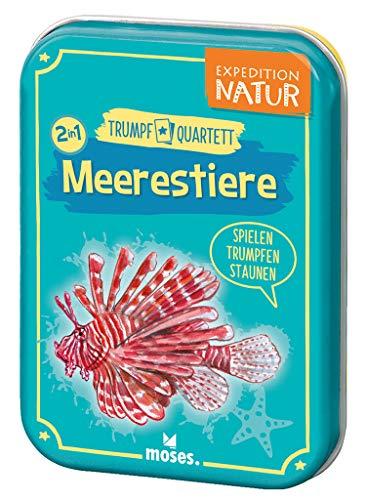 moses. 9599 Expedition Natur Trumpf Quartett Meerestiere | Kartenspiel für Kinder ab 8 Jahren, bunt