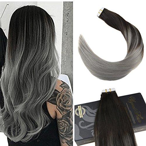 Ugeat 40cm liscio capelli umani di alta qualita tape extensions capelli veri 50g/20pcs remy capelli colorati fuori dal nero e grigio #1b/silver