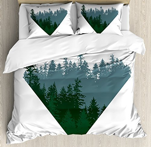 Ambesonne Forest Duvet Cover Set King Size, Triangle Frame with Coniferous Tree Silhouettes Modern Geometric, Decorative 3 Piece Bedding Set with 2 Pillow Shams, Slate Blue Dark Green White
