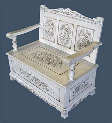 French furniture, SOLID WOOD Handcarved Monks Bench / Chair with Lift Top Storage in Antique White Finish, Shabby Chic