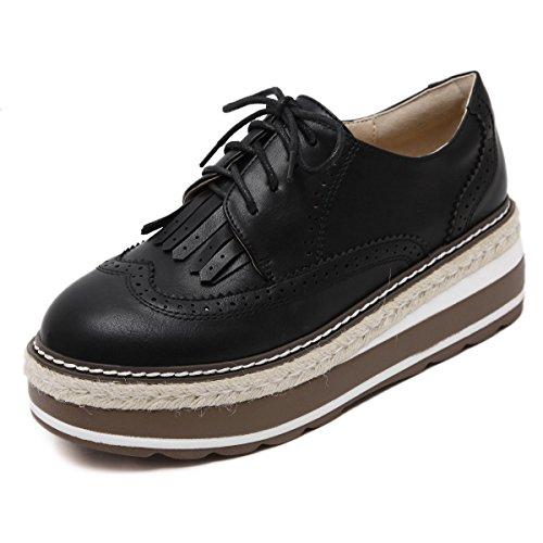 Style Britannique Croûte épaisse Chaussures En Dentelle Sauvage Black