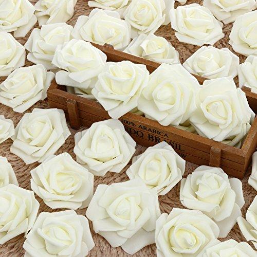 Amazingdeal 365 50pcs Schaum Rose Blume Kopf Künstliche Blumen fuer Hochzeit Wohnzimmer Kuechen Dekoretion Idylische Wundebar (Weiß)
