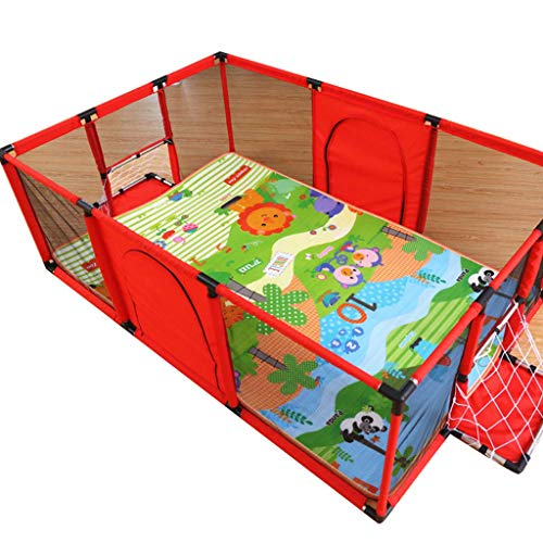 GWFVA Adorable Safety Play Center Yard Baby Safety Play Playpen, Crawling Mat Toddler Fence with Ball Basket and Zippered, Sea Ball Pool for Indoor Outdoor (Red)