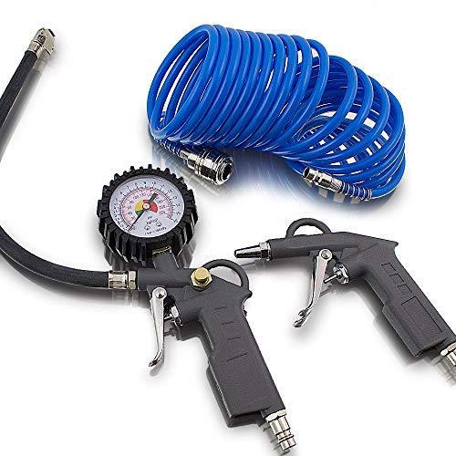 BITUXX® 3 tlg teiliges Druckluftset Zubehör Set für Kompressor Schlauch Reifendruck Ausblaspistole Druckluft Pneumatik