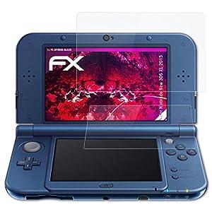 atFoliX Glasfolie kompatibel mit Nintendo New 3DS XL 2015 Panzerfolie, 9H Hybrid-Glass FX Schutzpanzer Folie (1er Set)