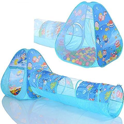 Pop Up tente de jeu Ocean Triangle avec un tunnel et 100 balles a piscines à boules