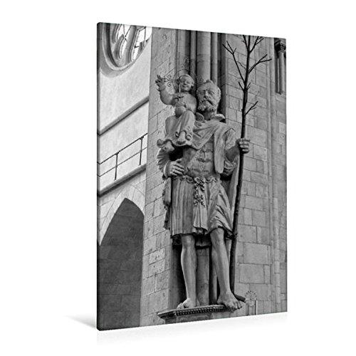 Calvendo Premium Textil-Leinwand 80 cm x 120 cm hoch, Christopherusstatue im St. Paulus Dom | Wandbild, Bild auf Keilrahmen, Fertigbild auf echter Leinwand. Münster in schwarz und weiß Orte Orte