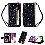 LaVibe Coque iphone X, Housse en Cuir PU Leather Etui Portefeuille à Rabat Glitter Clapet Support Fermeture éclair Porte Video Stand, Flip Wallet Protective Case Cover–Noir