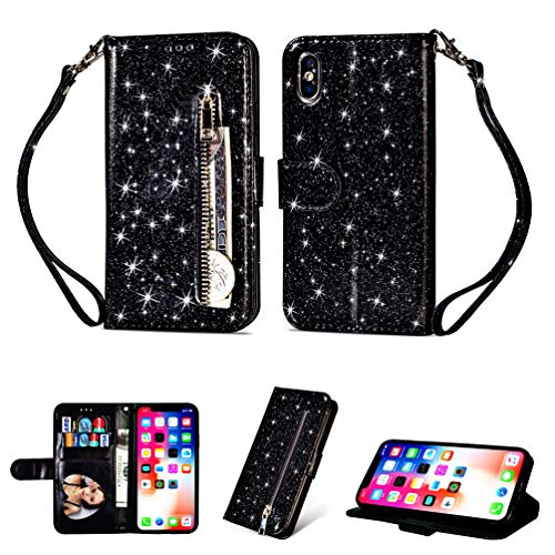 LaVibe Coque iPhone XS Max 6.5 Pouces, Housse en Cuir PU Leather Etui Portefeuille à Rabat Glitter Clapet Support Fermeture éclair Porte Video Stand, Flip Wallet Protective Case Cover–Noir