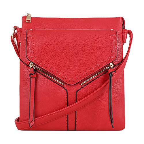 SG SUGU Geldbörse mit 2 Fächern, leicht, mittelgroß, mit mehreren Taschen, Rot (rot), Einheitsgröße