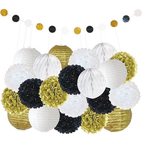 TOYMYTOY 22 Stück DIY Party Deko-Set Papier PomPoms Papierblumen mit Quaste Girlande Banner (Schwarz und Weiß und Gold) (Weiße Quaste)