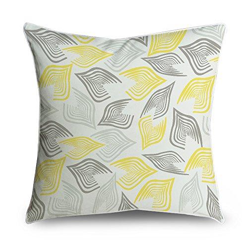 fabricmcc quadrato motivo geometrico bianco giallo accento decorativo federa Cuscino Cover 18x 18