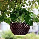 Antier 1 Pcs Hanging Baskets Rattan Waven Flower Pot Plant Pot with Hanging Chain for Houseplants Garden Balcony Decoration i