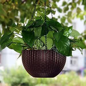 Antier 1 Pcs Hanging Baskets Rattan Waven Flower Pot Plant Pot with Hanging Chain for Houseplants Garden Balcony Decoration in Multicolor