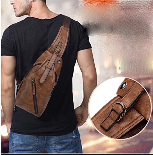 LAIDAYE Männer Schulter Umhängetasche Freizeitmode Sport Rucksack Business Freizeit Mehrzweck- Reiserucksack Business-Paket Schultertasche Brusttasche Darkbrown