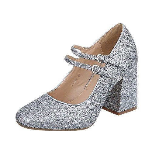Ital-Design High Heel Pumps Damen-Schuhe High Heel Pumps Pump High Heels Schnalle Pumps Silber Grau, Gr 37, L1058-